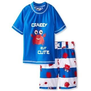 iXtreme Toddler Boys Cute Crabby Short Sleeve Rash Guard 2Pc Set Swim Trunk