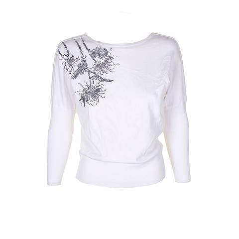 Alfani Petite Cloud Embellished Dolman-Sleeve Crew Neck Sweater PL