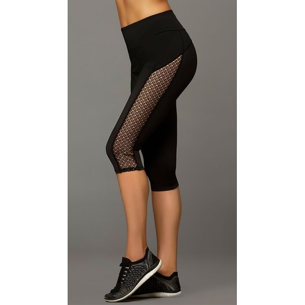 Shop Black Netted Capris f697eed1a