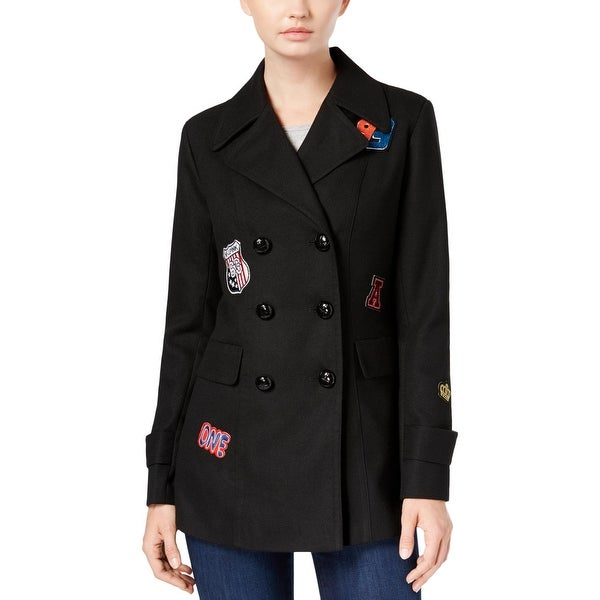 BCX Womens Pea Coat Winter Patchwork - M
