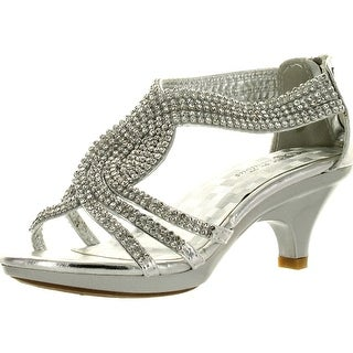 Fabulous Angel-37K Little Girls Bling Rhinestone Platform Dress Heels Sandals
