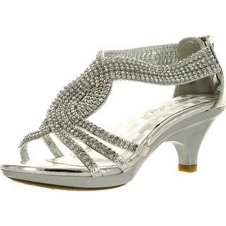 Fabulous Angel-37K Little Girls Bling Rhinestone Platform Dress Heels Sandals