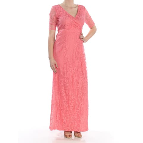 b622c9aa24 ELLEN TRACY Womens Coral Lace Gown Short Sleeve V Neck Maxi Faux Wrap  Formal Dress Size