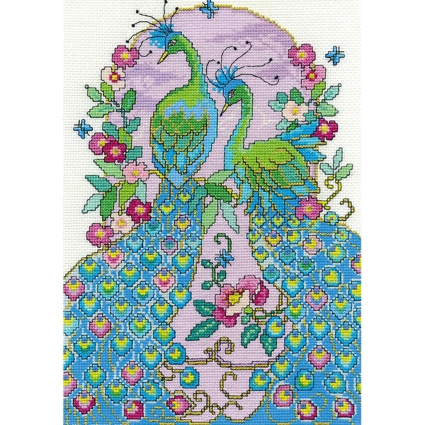 """Peacocks Counted Cross Stitch Kit-8""""X12"""" 14 Count"""