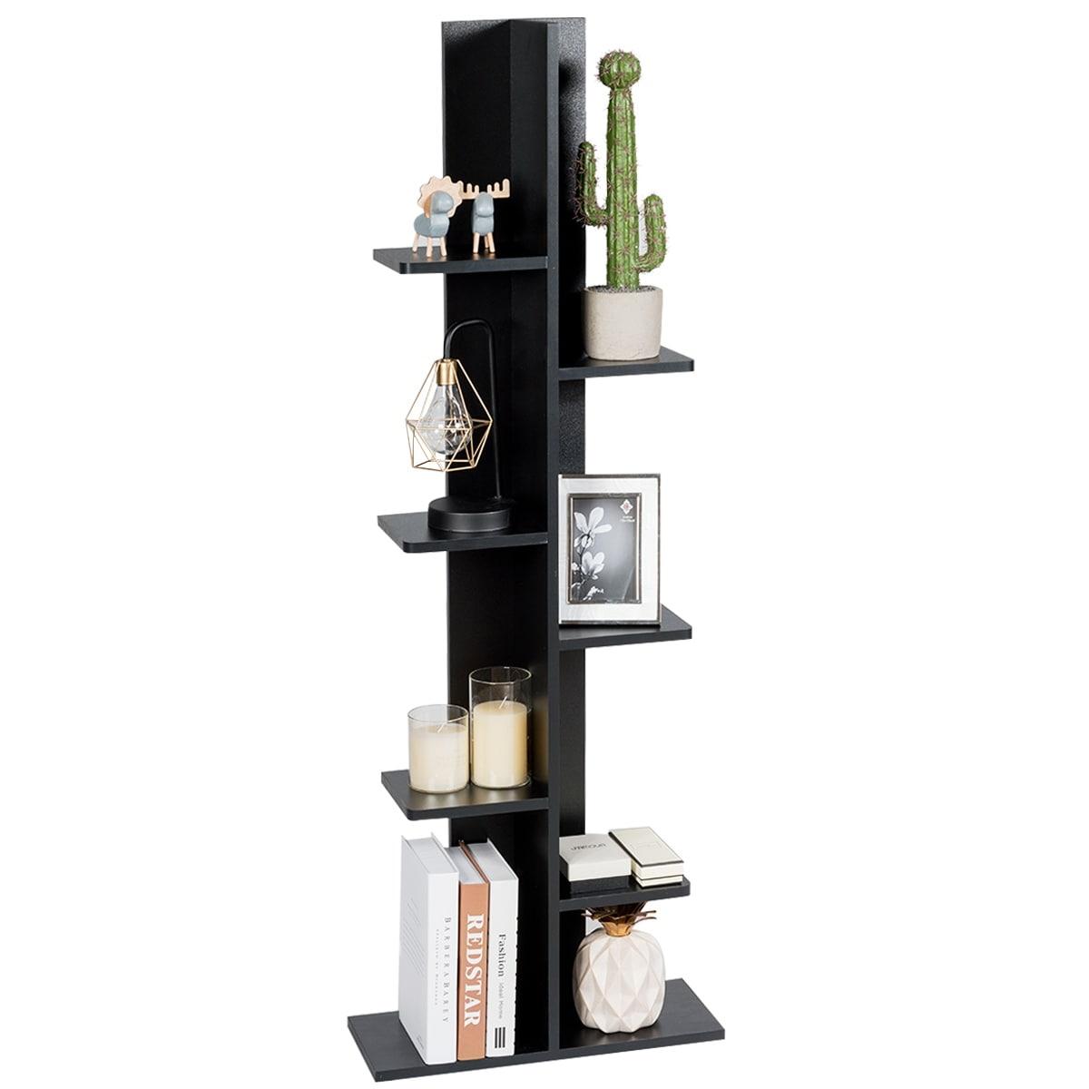 Costway 7-Tier Bookshelf Bookcase Plant Display Shelf Rack Storage Holder Wooden Black