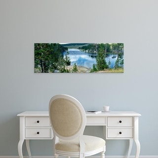 Easy Art Prints Panoramic Image 'View of Yellowstone River, Yellowstone National Park, Wyoming, USA' Canvas Art