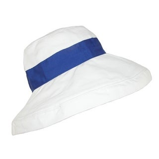 Jeanne Simmons Women's Cotton White Summer Sun UPF 50+ Bucket Hat - One Size