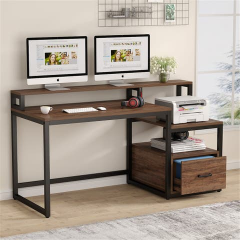 59'' Computer Desk with Drawer, Storage Shelves and Monitor Stand