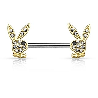 Crystal Pave Playboy Bunny Ends Surgical Steel Nipple Ring Barbell - 14GA (Sold Ind.)
