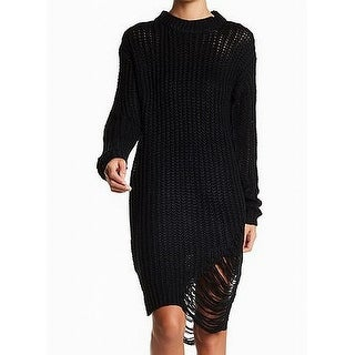 Soultions NEW Black Womens Size XL Distressed Knitted Sweater Dress