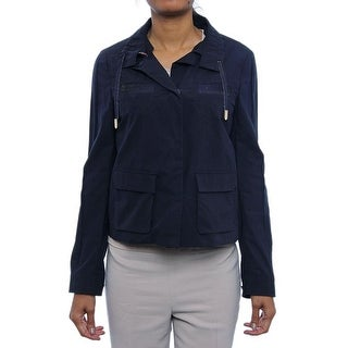Piazza Sempione Removable Collar Snap Up Jacket Basic Jacket 0568