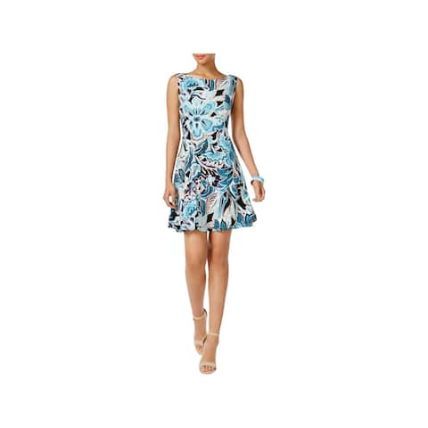Connected Apparel Womens Casual Dress Floral Print Fit & Flare