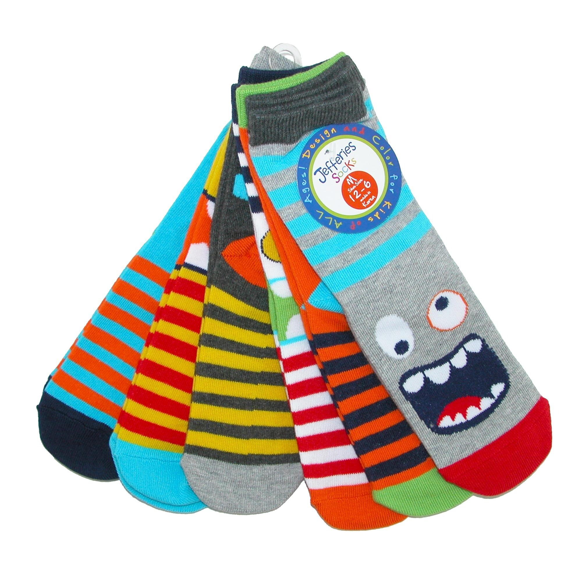 Jefferies Socks Boys Little Fun Colorful Dress Crew Socks 6 Pair Pack
