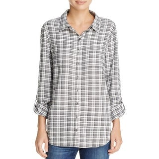 Soft Joie Womens Eirene Button-Down Top Plaid Adjustable Sleeves