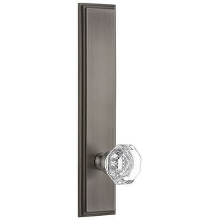 """Grandeur CARCHM_TP_PSG_234  Carre Solid Brass Tall Plate Rose Passage Door Knob Set with Chambord Crystal Knob and 2-3/4"""""""