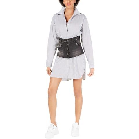 Kendall Kylie Womens Denim Contrast Shirt Dress