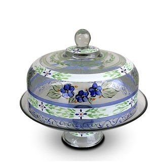 """Link to Blue Floral Hand Painted Glass Large Convertible Cake Dome 11"""" Similar Items in Dinnerware"""