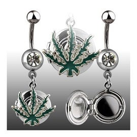 """Navel Belly Button Ring Locket with Pot Leaf - 14GA 3/8"""" Long (Sold Ind.)"""