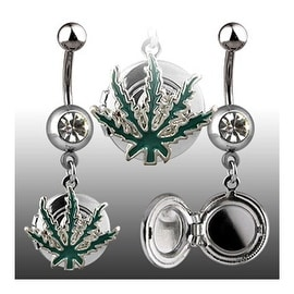 "Navel Belly Button Ring Locket with Pot Leaf - 14GA 3/8"" Long (Sold Ind.)"