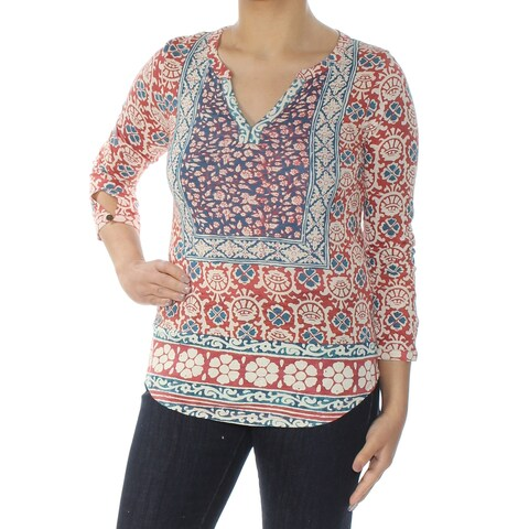 LUCKY BRAND Womens Red Mixed Print Long Sleeve V Neck Top Size: XS