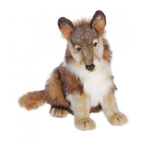 """Pack of 2 Life-Like Handcrafted Extra Soft Plush Seated Wolf Cub Stuffed Animals 14.5"""""""