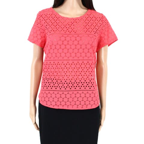 Joules Womens Top Coral Pink Size 10 Crochet Eyelet Shirttail Curved-Hem