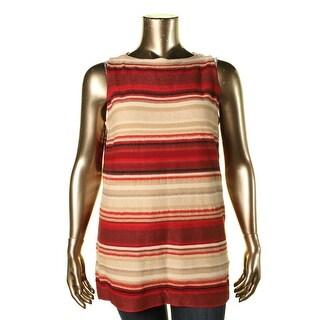 Lauren Ralph Lauren Womens Plus Knit Sleeveless Tunic Sweater - 1X