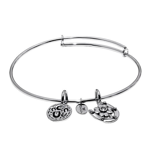 Chrysalis 'Hope' Expandable Bangle in Rhodium-Plated Brass - White