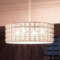 "Luxury Crystal Pendant or Chandelier, 8""H x 17.25""W, with Metropolitan Style, Drum Design, Antique Gold Finish"