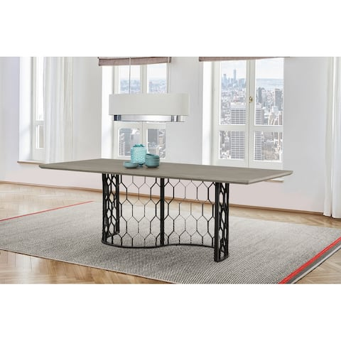 Solange Concrete and Black Metal Rectangular Dining Table