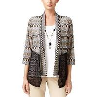Alfred Dunner Womens Petite Space Dye Cardigan Black/Gold/White - PXL