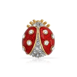 Bling Jewelry Gold Plated Red Enamel Crystal Insect Ladybug Brooch Pin