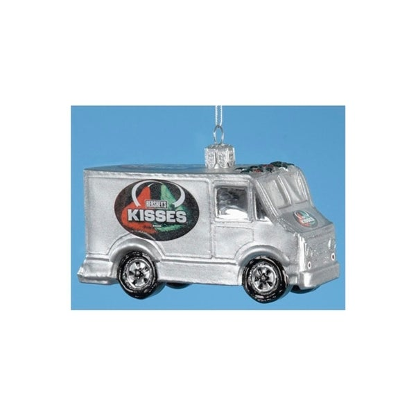 "3.5"" Chocolate Shop Handcrafted Glass Hershey's Kisses Truck Christmas Ornament - silver"