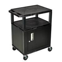 "OF-WT34BC2E-B - Offex 34"" Three Flat Shelves AV Electric Cart with Cabinet - Black Legs, Black"