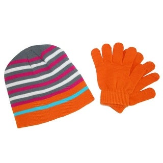 Grand Sierra Girl's 7-16 Striped Hat and Solid Gloves Winter Set