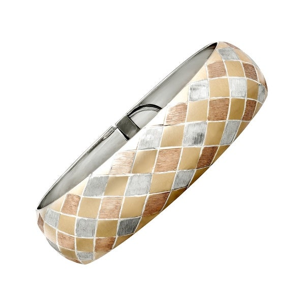 Harlequin-Patterned Bangle Bracelet in 14K Two-Tone Gold & Sterling Silver