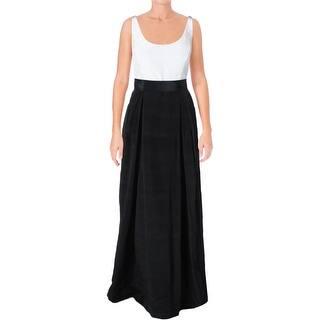 Lauren Ralph Womens Edgara Semi Formal Dress Colorblock Pleated