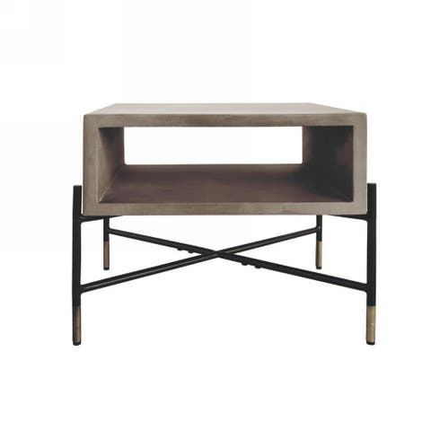 Open Concrete Top End Table with Tubular Metal Base, Black and Gray