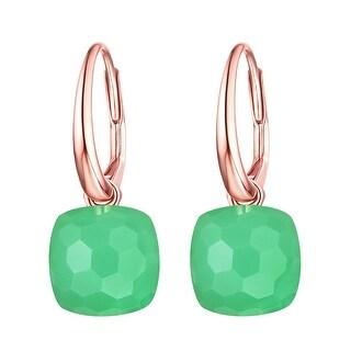 Vedantti Magic Honeycomb Cut Green Chrysoprase Gemstone Divine Leverback Earring