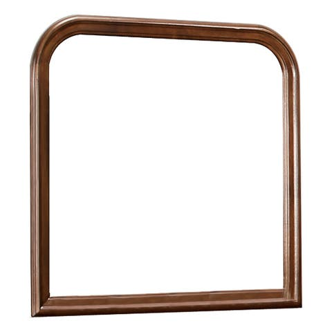 Arched Molded Design Wooden Frame Mirror, Cherry Brown and Silver