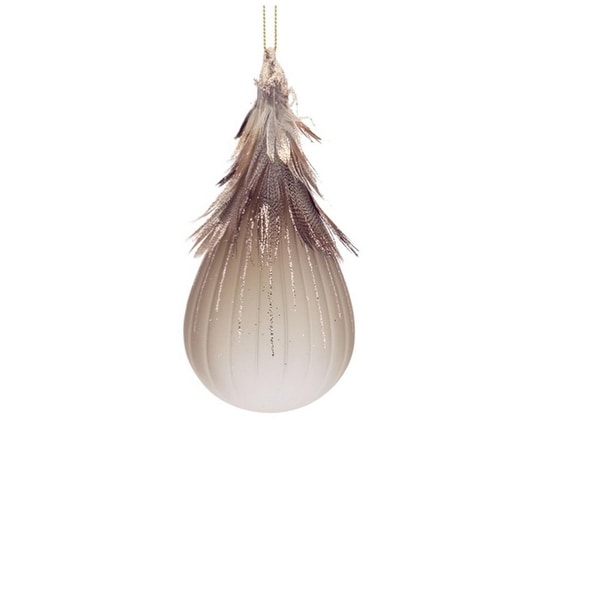 """6"""" Luxury Lodge Frosted Glass Tear Drop with Bronze Feathers Christmas Ornament"""