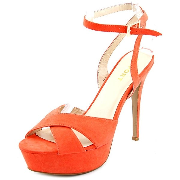 Report Valleta Women Open Toe Synthetic Orange Platform Sandal