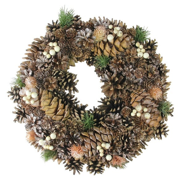 """15"""" Copper Foliage, Pine Cone and Berry Artificial Christmas Wreath - Unlit - brown"""