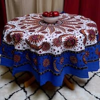 Handmade 100% Cotton Celestial Sun Moon and Star Print Tablecloth 72 Inch Round Blue & Beige