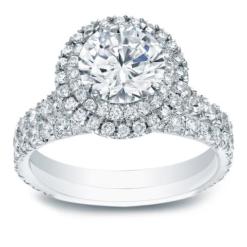 Auriya 2 1/3ctw Round Double Halo Diamond Engagement Ring Set 14k Gold