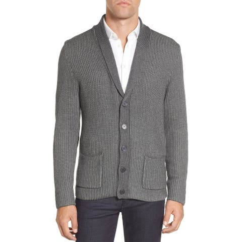 Vince Camuto Mens Slim Fit Shawl Collar Cardigan Sweater X-Small Charcoal