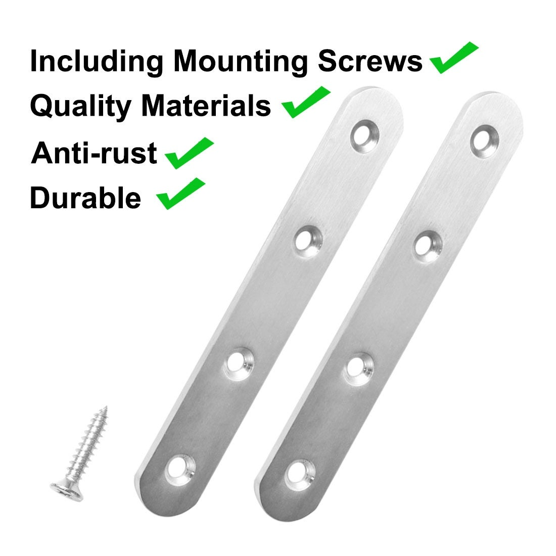 Honbay 12PCS Stainless Steel Flat Straight Braces Brackets with Screws for Fixing