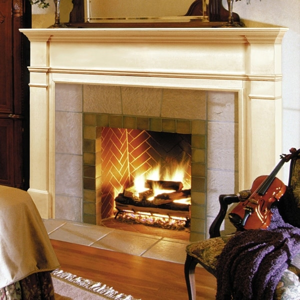 """57"""" White The Windsor Fireplace Mantel Unfinished - N/A"""