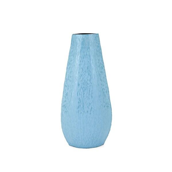 "16"" Blue Enamel Finish Vase Tabletop Decor - N/A"