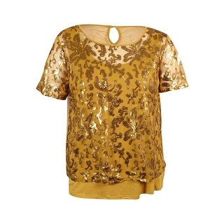 Joseph A Women's Layered Sequined Top - Pale Gold - xL